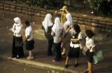 Commuters waiting gat Blok M, South Jakarta