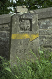 Waymarker on the Camino at Furelos, Galicia