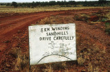 Sandhill warning at the western approaches to the Simpson