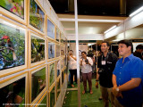 A WALL OF ENDEMIC BIRDS. Congressman Miguel Zubiri of Bukidnon views endemic bird photos exhibited by the Philippine Bird Photography e-Group (PBPeG),  as bird shooter Nilo Arribas looks on and Lydia Robledo shoots some pics in the background.