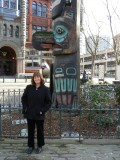 Julie by totem pole in Pioneer Square