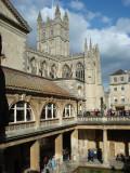 Bath Abbey tower from the Roman Baths