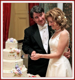 Giving the Bride the Cake Cutting Look