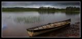 Canoe on lake in Dalarna
