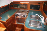 galley with Corian counter tops, port aft