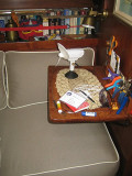 custom 'lap desk', port settee forward