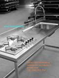 Top inox -  lavello - miscelatore - cottura - struttura in tubolare satinato custom work