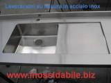 top in acciaio inox per arredamento casa su misura con lavello e sgocciolatoio