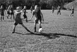 Girl's Soccer game in the bright autumnal sunshine