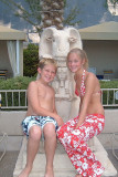 Casey and CJ at the Luxor poolside