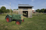 barn with a tractor