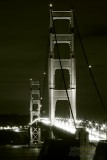 Black & White of the Golden Gate Bridge at night