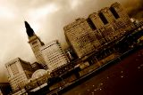 Downtown Cleveland, Ohio at dusk in sepia