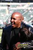 Home Run Champ Barry Bonds at an Oakland Raiders game