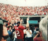 Trent Dilfer celebrating a Buccaneers win in 1999