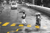 Crossing the street in Kandy