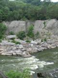 Rock climbing beside the rapids