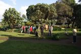 Gorilla trekking tourists gathered at the ORTPN office near Ruhengeri, Rwanda.