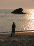 Fisherman and S.S. Atlantus - Sunset Beach, NJ