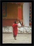 Monk & Brooms, Paro Dzong