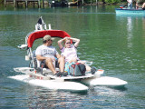 BOATS LIKE THIS LOOK LIKE THEY POSE LITTLE THREAT TO THE MANATEES........