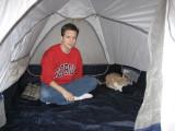 Liz in new Sierra Designs tent ©  Liz Stanley
