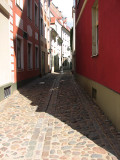 One of the many cobblestone roads