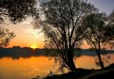 Wisla River Sunset In October