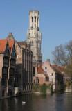 Brugge Belfry and canal behind Hotel Erasmus 2