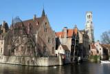 Brugge Belfry and canal behind Hotel Erasmus 3