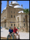 My brother (in blue) and I (in red) in front of Mohammed Ali Mosquee