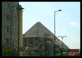 Pyramids ( Gizeh) are visible from far away in the City of Cairo !