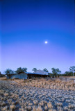 Moonrise, old shearing shed u001916