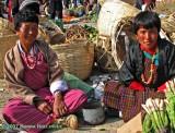 Women selling aspaagus at the Paro Market