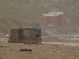 Coastal lookout post,in heavy rain