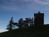 The Repentance Tower,silhouetted in the dawn.