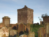 The Repentance Tower in the walled graveyard.