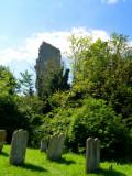 Bramber  Castle, viewed  from  St .Nicholas' churchyard