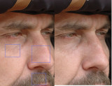 A gauche l'image a été accentuée avec des reglages incorrects (rayon un peu large, mais surtout seuil trop elevé (5), ce qui a empêché l'accentuation des détails les plus fins. Cela a entrainé l'apparition de zones vides d'information et quelques zones trop accentuées (voir particulièrement dans les poils de moustache et de sourcils) ce qui crée un manque d'homogeneïté, et provoque un effet artificiel et inesthétique. A droite le niveau de seuil est à 0. L'accentuation avec un rayon faible et une forte intensité provoque une accentuation forte mais fine et régulière dans tous les niveaux de détails L'image est homogene, fourmille de détails et a un bien meilleur modelé. Elle est plus naturelle. Le bruit a été accentué par le seuil à 0 mais ne nuit pas dans cette image, au contraire.