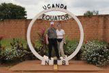 Hér erum við stödd á miðbaug i Uganda.