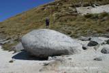 Granite rocks - Roy continues through the tussocks