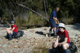 The walking is over - Fliss, Roy and Diana - Lake Manapouri