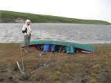 Tied so wind can't take it; windbound at Mud Camp