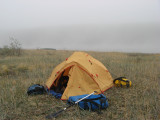 Fog and some rain, tent time