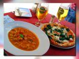 Pizza & Galushkas W/Paprika Sause, Vienese Lunch, Austria