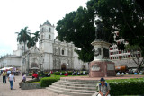 In front of St. Michael's Cathedral is Parque Central, which is a hub of activity in Tegucigalpa.