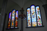 Here are two spectacular stained glass windows side by side.