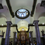 View of the ceiling of the Basilica of Suyapo with a hole leading to a dome.