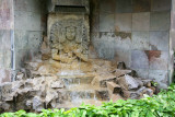 The Honduras Maya Hotel has really wonderful Mayan art such as this fountain in front.