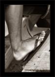 Foot on wood